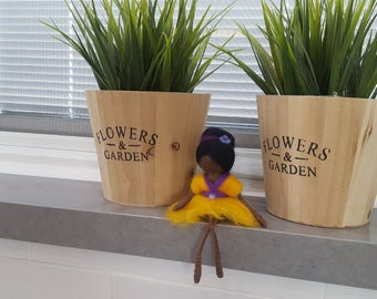 African American fairy, Needle felted Ethnic doll, Black fairy doll, Dark skin, native american doll, African American doll, waldorf fairy