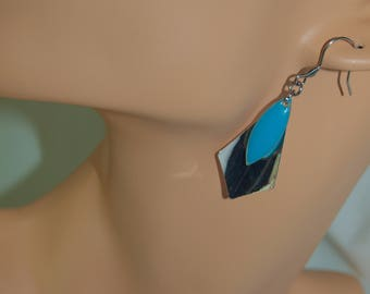 Earrings stainless steel and blue sequin