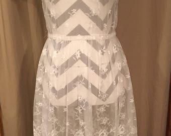 Vintage 1950's white lace dress/vintage sheer see through dress