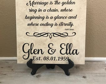 Decorative Tile, Personalized Tile, Wedding Gift, Personalized Gifts, Gifts for Her, Anniversary Gift, Housewarmig Gift, Gifts for Her