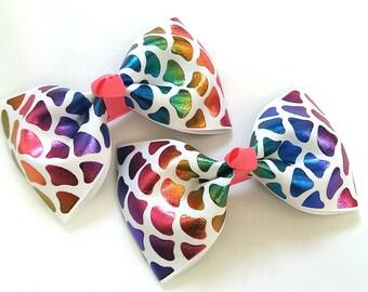 Mermaid hair bows, rainbow, multicoloured, foil ribbon, hair clips, uk