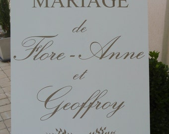 Panneau  mariage en bois massif personnalisable.Pancarte mariage personnalisée.French wedding wood welcome sign.
