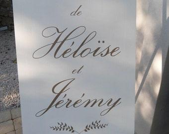Panneau en bois personnalisable pour mariage avec insertion de motif .Panneau mariage personnalisée.French wedding wood welcome sign.