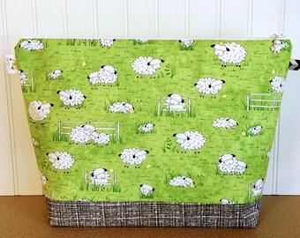 Sweater Knitting Bag, Knitting Project Bag, Sheep Knitting Bag, Crochet Project Bag, Knitting Caddy, Yarn Tote Bag, Knitting Tote, Yarn Bowl