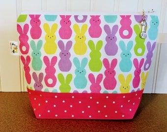 Sock knitting bag, Easter Knitting project bag, Knitting Wedge bag, Zippered Knitting Bag, Crochet Project bag, Yarn tote, Knitting tote