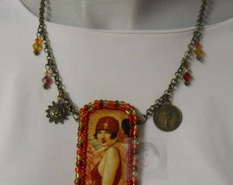 Vintage necklace with fabric embroidered and glass beads
