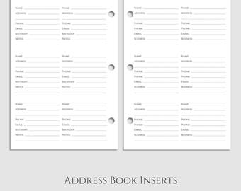 "Address Book Inserts ~ Phone Book and Addresses ~ Personal and Business Contacts Pages ~ Half Letter / 5.5"" x 8.5"" / Mini 3-Ring (3RM-CP)"