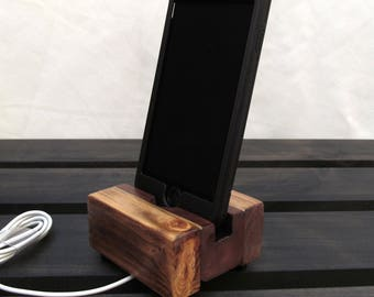 Cell phone stand, charging station, iphone dock, iphone 6, iphone 5, iphone 7, wood phone charging stand, rustic design.