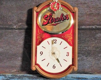 Vintage Stroh's Beer Wall Hanging Clock Beer Sign for Bar or Mancave