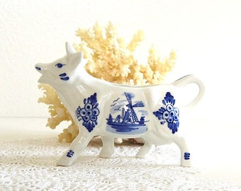 vintage delft blue milk pitcher cow pitcher creamer cow decor delft holland