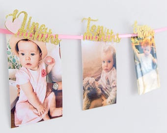 First Birthday Girl Photo Wall Banner// 12 months Banner Cutout with Love Heart//Party Decorations//Pink & Gold Glitter//Cake Smash//Age One