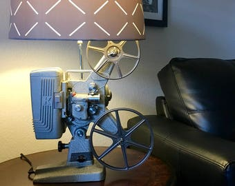 Original gift idea.  Vintage movie projector lamp.  Beautiful lighting for any room. Film lovers lamp.