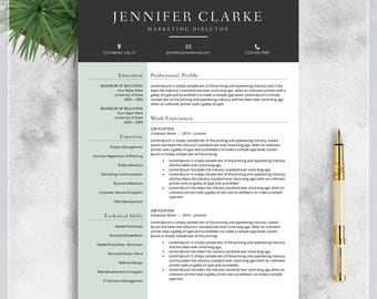 Resume Template, CV Template for MS Word, Creative Resume, Modern Resume Design, Teacher Resume, Resume Instant Download