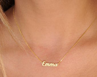 Custom Name Necklace -Gold Name Necklace- Custom Name Plate Necklace - Personalized Bridesmaids Necklace-Bridesmaid Gift