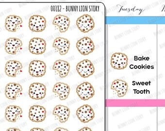 00182 | 28 Chocholate Chip Cookie Snack Sweet Tooth Craving Reminder Cute Kawaii Planner Stickers Journal Diary Scrapbook Agenda Schedule