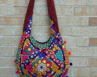 Boho Hippie banjara embroidery tribal ethnic summer shoulder crossbody hobo handbag