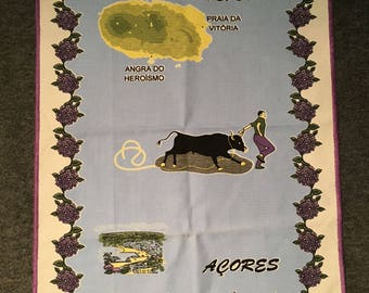 Vintage 1970s Terceira Souvenir Tea Towel