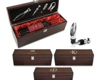 Monogram Single Wine Bottle Presentation Box with Tools - Personalized Initial Wooden Wine Storage Box with Accessories -  Wedding Gift Idea