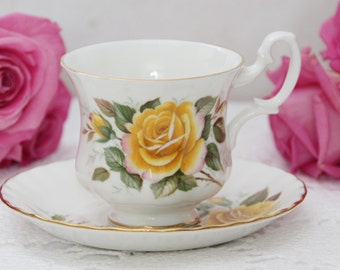 Royal Albert Un-named Teacup and Saucer Demitasse Teacup and Saucer Yellow Roses on white porcelain