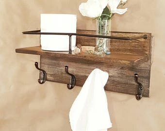 Bathroom Towel Holder Shelf Organizer Reclaimed Wood Bathroom Towel Shelf  Storage And Organization