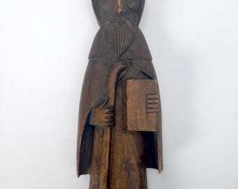 Classic Monk Wood Sculpture / Vintage & Beautifully Hand Carved / Mid Century Carving