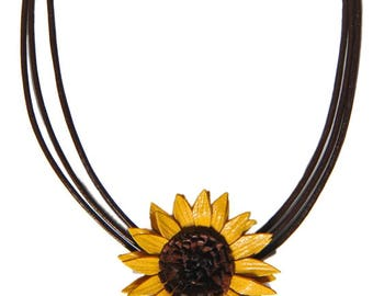 Necklace flower sunflower leather full grain cowhide leather cord