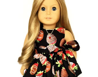 Sleeveless Dress, Chocolate Covered, Strawberry, Sash, Black, Red, White, Brown, Fits dolls such as American Girl, 18 inch Doll Clothes