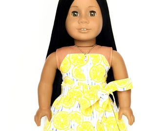 Flare Skirt, Sash Belt, Lemon, Stripes, Yellow, White, Blue, Fruit, Fits dolls such as American Girl, 18 inch Doll Clothes, Mix and Match