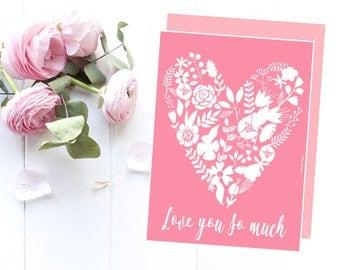 Love card printable, Birthday card, Mother love card, Wedding card, Anniversary card, Girlfriend card, Girlfriend gift, Love gift idea