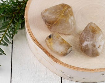 GOLDEN RUTILATED QUARTZ Tumbled Stone - S, M or L - Polished Quartz, Tumbled Crystal, Healing Crystal, Golden Rutile Quartz Crystal E0746