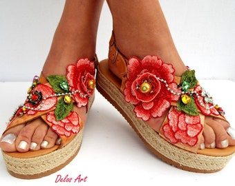 Peach pink leather Sandal, flowers sandals, wedged Heel, Platform, slip on  sandals , Greek  sandals,  Handmade sandals