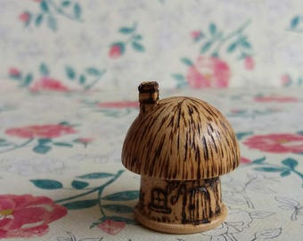 Vintage 1990s Wooden Toadstool House Thimble - Handmade in Jersey