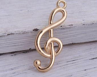 5 pendants in the shape of music Note / treble clef gilt 3.2 cm