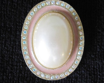 Brooch, Costume Jewelry, Rhinestone and Faux Pearl, Vintage