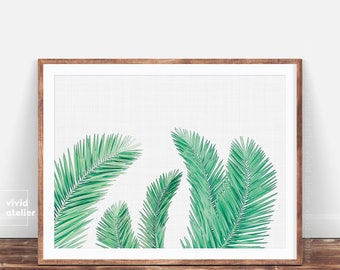 Palm Leaf Print, Trending Now, Tropical Art, Palm Tree Decor, Palm Tree Art, Tropical Decor, Palm Leaf Watercolor, Palm Leaves, Palm Poster