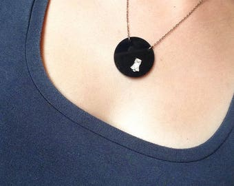 "Necklace ""Black Hantu"", on glossy black plastic wooden OWL"