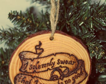 Christmas Ornament Wood Bauble Festive Log Slice Rustic Handmade Wood Burning Pyrography Gift Tree Decoration Harry Potter Solemnly Swear