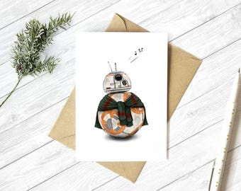 BB8 Star Wars • Christmas Holiday Greeting Card • A6/C6 • Recycled • Kraft Envelope