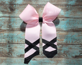 Dance Hair Bow, Ballet Hair Bow, Dance Theme, Point Shoes Bow, Bllerina Bow, Pink and Black Bow, Girl's Dance theme