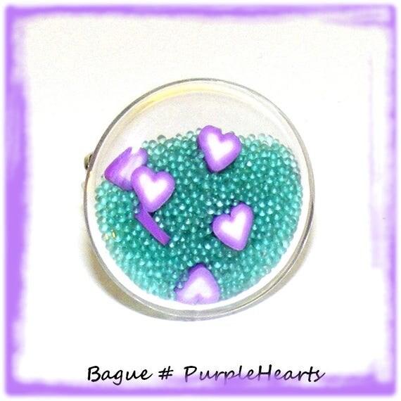 Bague globe [Purple Hearts]