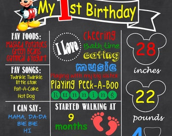Mickey Mouse Chalkboard Poster Customized Digital File