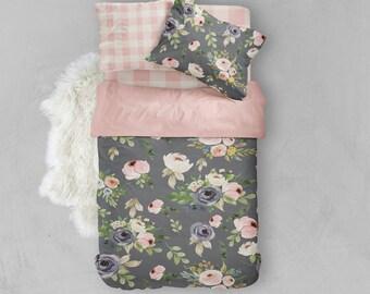 Twin bedding, bedding set, floral bedding, toddler bedding, duvet cover, twin sheet, pillow case, flowers, pink, grey, girl, crib duvet