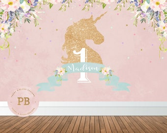 Digital Unicorn Birthday Party Backdrop, Unicorn Backdrop, Rainbow Birthday, Unicorn Baby Shower, Unicorn Party Decoration, First Birthday