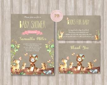 Woodland Baby Shower Invitation- Woodland Animal Birthday, First Birthday, Woodland Birthday Invitation, Deer Invitation, Digital,