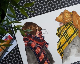 SALE / Tartan Winter Ladies / ORIGINAL Illustration