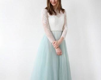 Long Sleeve Lace Custom Dye Dusty Green Wedding Dress