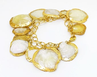 24K gold plated Capiz shell beach bracelet