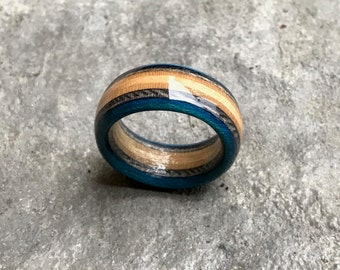 Recycled Skateboard Ring (Blue) | Wood Jewellery Handmade in Canada