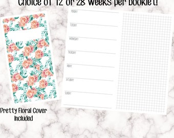 Standard Size / No.6 Foxy Fix Sized - Horizontal Week On One Page (WO1P) Traveller's Notebook Inserts - Undated pdf download - Printable TN