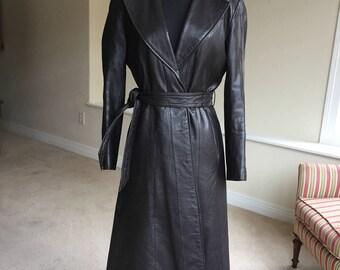 Vintage Black Leather Belted Trench Coat 1970